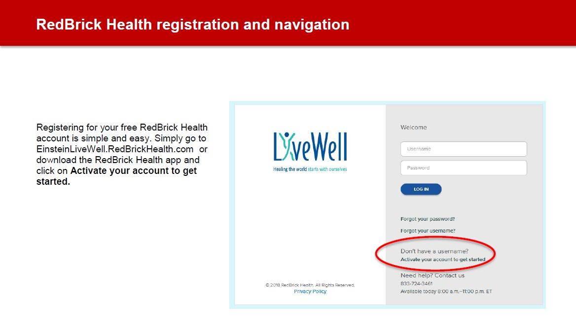 Registration and Navigation - Einstein Livewell